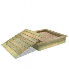 PowerPit Sandkasten mit Deckel 145x145x32 cm